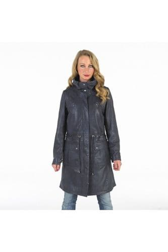 Ladies Drawstring Leather Parka in Navy Blue